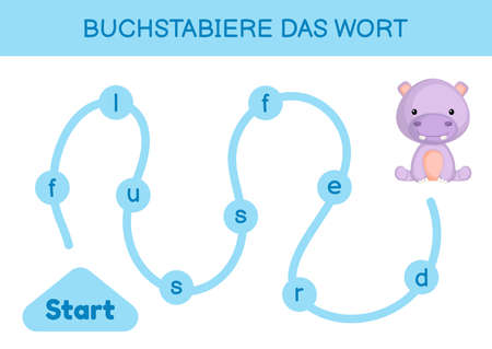 Buchstabiere das wort - Spell the word. Maze for kids. Spelling word game template. Learn to read word hippo. Activity page for study German for development of children. Vector stock illustration.