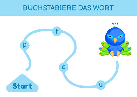 Buchstabiere das wort - Spell the word. Maze for kids. Spelling word game template. Learn to read word peacock. Activity page for study German for development of children. Vector stock illustration.