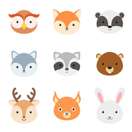 Cute funny animal heads. Woodland cartoon animal characters for baby print design, kids wear, baby shower celebration, greeting and invitation card, wall decor. Flat vector stock illustration