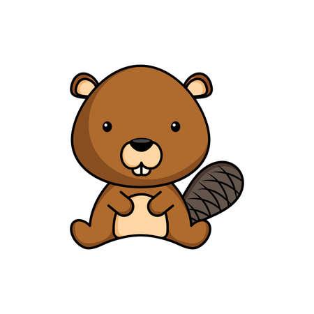 Cute business beaver icon on white background. Mascot cartoon animal character design of album, scrapbook, greeting card, invitation, flyer, sticker, card. Flat vector stock illustration. Vecteurs