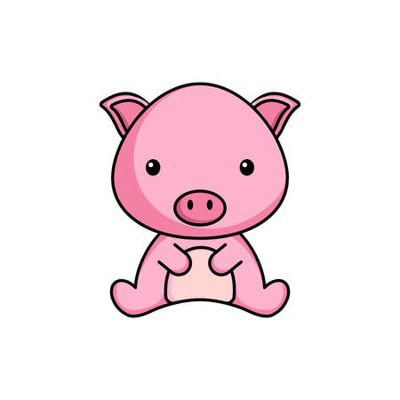 Cute business pig icon on white background. Mascot cartoon animal character design of album, scrapbook, greeting card, invitation, flyer, sticker, card. Flat vector stock illustration.
