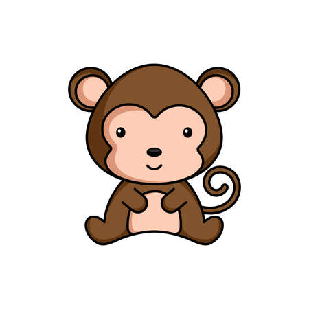 Cute business monkey icon on white background. Mascot cartoon animal character design of album, scrapbook, greeting card, invitation, flyer, sticker, card. Flat vector stock illustration.