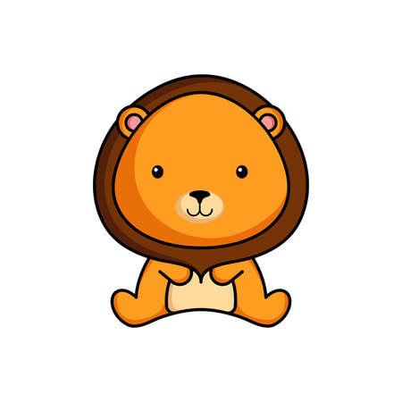 Cute business lion icon on white background. Mascot cartoon animal character design Ilustración de vector