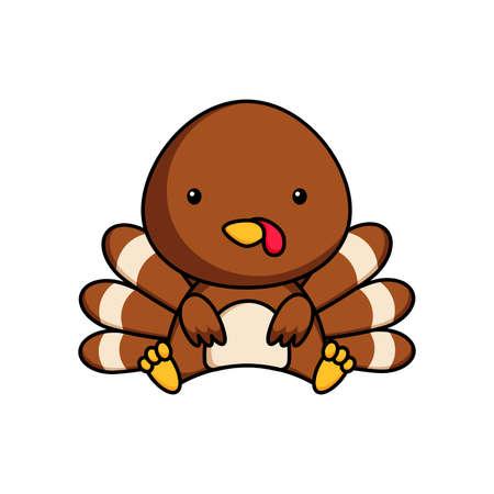 Cute business turkey icon on white background. Mascot cartoon animal character design of album, scrapbook, greeting card, invitation, flyer, sticker, card. Flat vector stock illustration. Vector Illustration