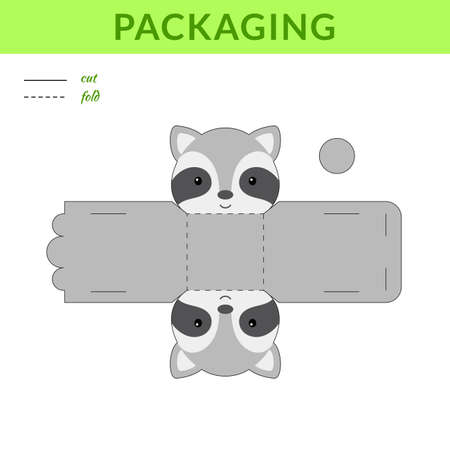 DIY party favor raccoon box for birthdays, baby showers for sweets, candies, small presents, bakery. Retail box blueprint template. Print, cutout, fold, glue sticker. Vector stock illustration