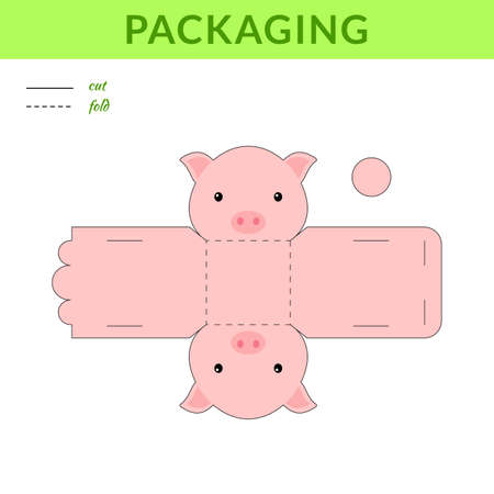 DIY party favor pig box for birthdays, baby showers for sweets, candies, small presents, bakery. Retail box blueprint template. Print, cutout, fold, glue sticker. Vector stock illustration
