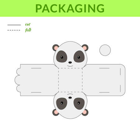 DIY party favor panda box for birthdays, baby showers for sweets, candies, small presents, bakery. Retail box blueprint template. Print, cutout, fold, glue sticker. Vector stock illustration