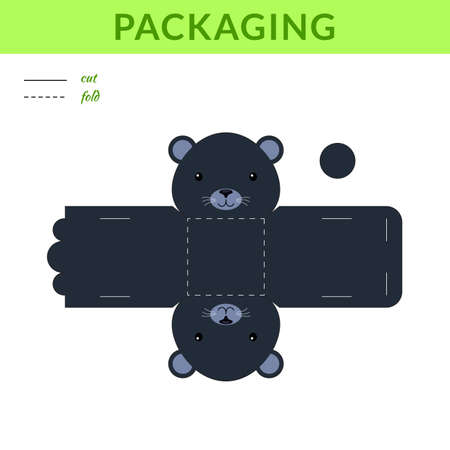 DIY party favor panther box for birthdays, baby showers for sweets, candies, small presents, bakery. Retail box blueprint template. Print, cutout, fold, glue sticker. Vector stock illustration Illustration