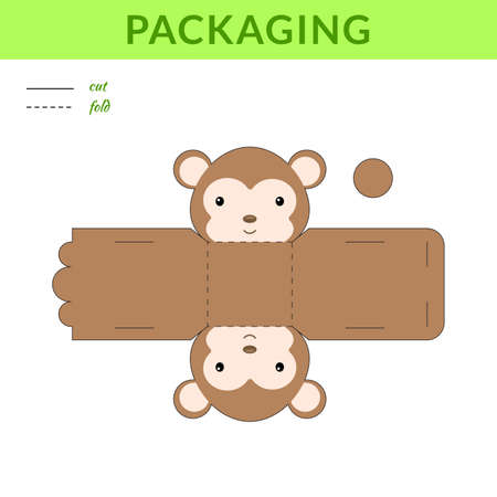 DIY party favor monkey box for birthdays, baby showers for sweets, candies, small presents, bakery. Retail box blueprint template. Print, cutout, fold, glue sticker. Vector stock illustration 矢量图像
