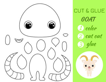 Coloring book cut and glue baby goat. Educational paper game for preschool children. Cut and Paste Worksheet. Color, cut parts and glue on paper.Cartoon character. Vector stock illustration.
