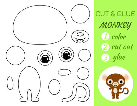 Coloring book cut and glue baby monkey. Educational paper game for preschool children. Cut and Paste Worksheet. Color, cut parts and glue on paper.Cartoon character. Vector stock illustration. 矢量图像