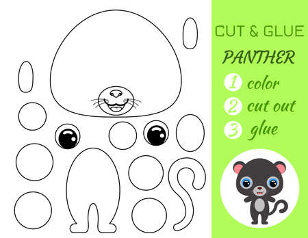 Coloring book cut and glue baby panther. Educational paper game for preschool children. Cut and Paste Worksheet. Color, cut parts and glue on paper.Cartoon character. Vector stock illustration.