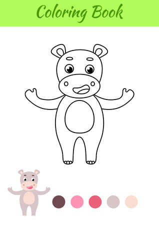 Coloring page happy hippo. Coloring book for kids. Educational activity for preschool years kids and toddlers with cute animal. Flat cartoon colorful vector illustration.