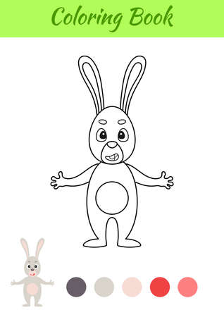 Coloring page happy hare. Coloring book for kids. Educational activity for preschool years kids and toddlers with cute animal. Flat cartoon colorful vector illustration.