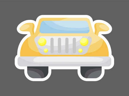 Orange car front view for design of notebook, scrapbook, card and invitation. Cute sticker template decorated with cartoon image. Colorful automobile flat style design. Vector stock illustration. Ilustracja