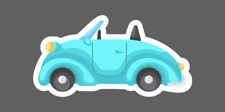 Turquoise cartoon car for design of notebook, scrapbook, card and invitation. Cute sticker template decorated with cartoon image. Colorful automobile flat style, simple design. Vector illustration Ilustracja