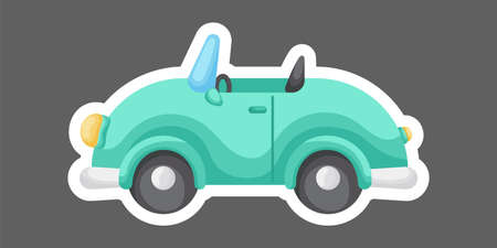 Green cartoon car for design of notebook, scrapbook, card and invitation. Cute sticker template decorated with cartoon image. Colorful automobile flat style, simple design. Vector stock illustration. Ilustracja