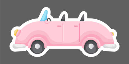 Pink cartoon car for design of notebook, scrapbook, card and invitation. Cute sticker template decorated with cartoon image. Colorful automobile flat style, simple design. Vector stock illustration.