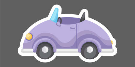 Purple cartoon car for design of notebook, scrapbook, card and invitation. Cute sticker template decorated with cartoon image. Colorful automobile flat style, simple design. Vector stock illustration.