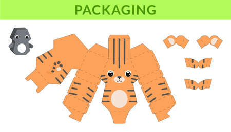 Party favor die cut tiger box for birthdays, baby showers for sweets, candies, small presents, bakery. Retail box blueprint template design. Print, cutout, fold, glue. Vector stock illustration.