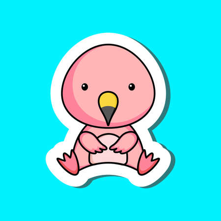 Cute cartoon sticker little flamingo logo template. Mascot animal character design of album, scrapbook, greeting card, invitation, flyer, sticker, card. Vector stock illustration. 矢量图像