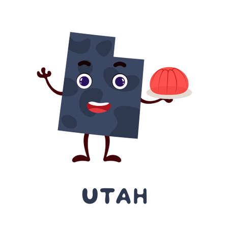 Cute cartoon Utah state character clipart. Illustrated map of state of Utah of USA with state name. Funny character design for kids game, sticker, cards, poster. Vector stock illustration.
