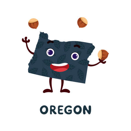 Cute cartoon Oregon state character clipart. Illustrated map of state of Oregon of USA with state name. Funny character design for kids game, sticker, cards, poster. Vector stock illustration.