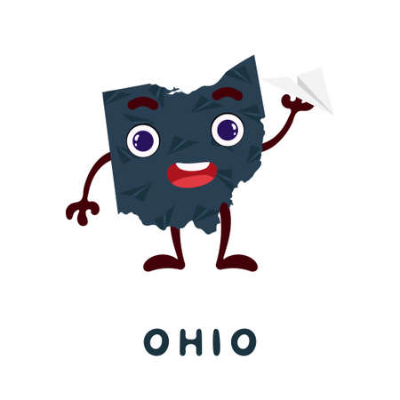 Cute cartoon Ohio state character clipart. Illustrated map of state of Ohio of USA with state name. Funny character design for kids game, sticker, cards, poster. Vector stock illustration.