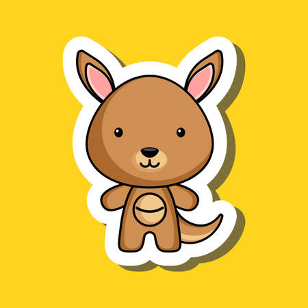 Cute cartoon sticker little kangaroo. Mascot animal character design for for kids cards, baby shower, posters, b-day invitation, clothes. Colored childish vector illustration in cartoon style.  イラスト・ベクター素材