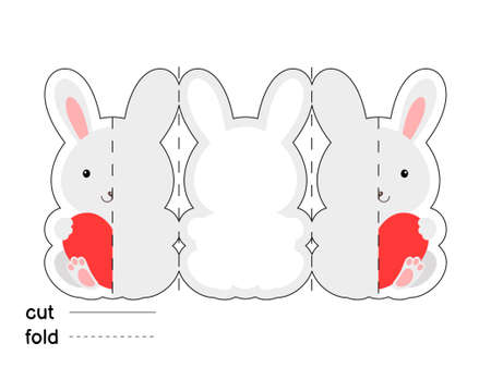 Cute rabbit hold heart. Fold long greeting card template. Great for St. Valentine day, birthdays, baby showers. Printable color scheme. Print, cut out, fold. Colorful vector stock illustration.