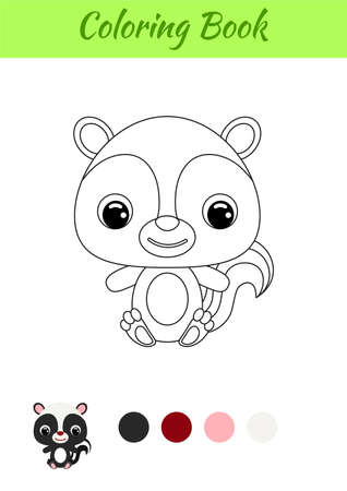 Coloring book little baby skunk sitting. Coloring page for kids. Educational activity for preschool years kids and toddlers with cute animal. Black and white vector stock illustration.