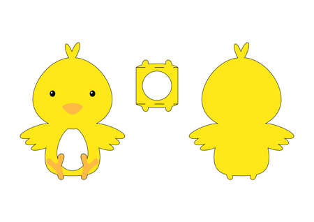Cute die cut chicken chocolate egg holder template. Retail paper box for the easter egg. Printable color scheme. Laser cutting vector template. Isolated vector packaging design illustration.