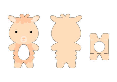 Cute die cut alpaca chocolate egg holder template. Retail paper box for the easter egg. Printable color scheme. Laser cutting vector template. Isolated vector packaging design illustration.