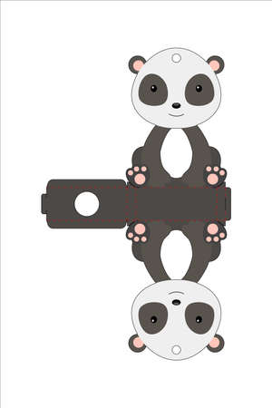 Cute easter egg holder panda template. Retail paper box for the easter egg. Printable color scheme. Laser cutting vector template. Isolated packaging design illustration.