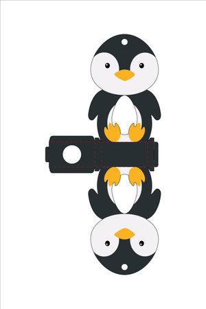 Cute easter egg holder penguin template. Retail paper box for the easter egg. Printable color scheme. Laser cutting vector template. Isolated packaging design illustration. Vektorgrafik