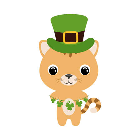 Cute cat in green leprechaun hat. Cartoon sweet animal with clovers. Vector St. Patrick's Day illustration on white background. Irish holiday folklore theme.