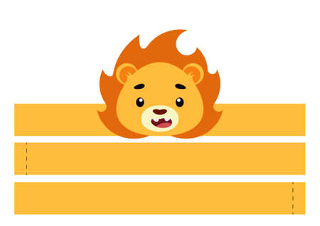 Printable lion paper crown. Party headband die cut template for birthday, christmas, baby shower. Fun accessory for entertainment. Print, cut and glue. Vector stock illustration. Vecteurs