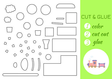 Color, cut and glue paper pink train. Cut and paste craft activity page. Educational game for preschool children. DIY worksheet. Kids logic game, activities jigsaw. Vector stock illustration. Ilustración de vector