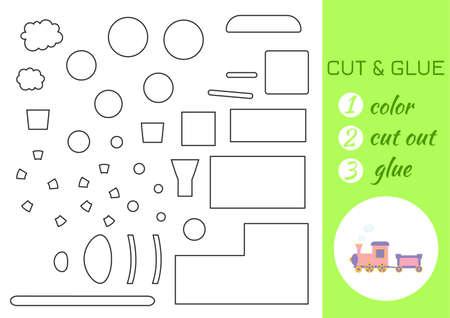 Color, cut and glue paper pink train. Cut and paste craft activity page. Educational game for preschool children. DIY worksheet. Kids logic game, activities jigsaw. Vector stock illustration. Ilustração Vetorial