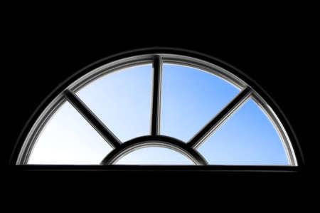 Door window with blue sky in it