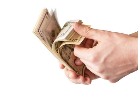 The human hand holding a bunch of USA dollars Stock Photo