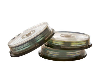 Cd discs in cases isolated on the white background Stock Photo