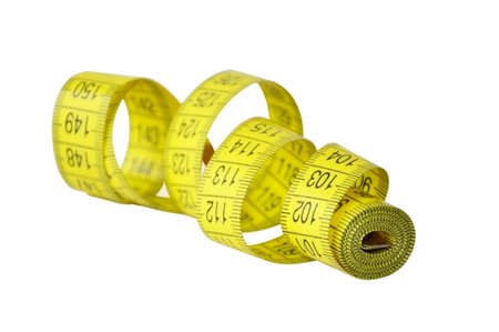 Twisted yellow tape measure isolated Stock Photo