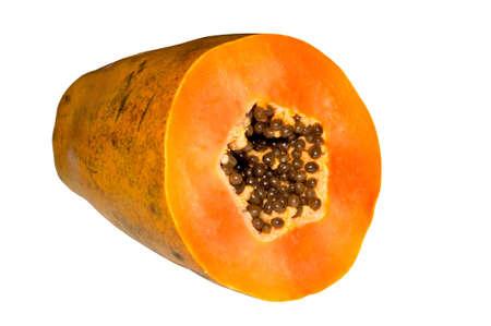 Cut papaya isolated on the white background