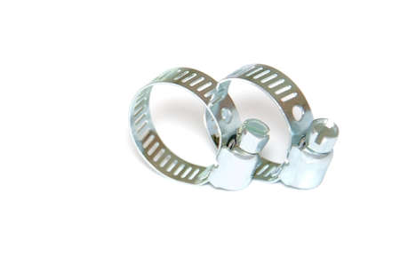 Two isolated steel yokes Stock Photo