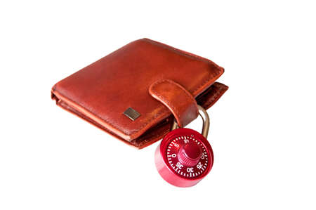 technology transaction: Wallet and padlock  Isolated brown wallet and combination padlock