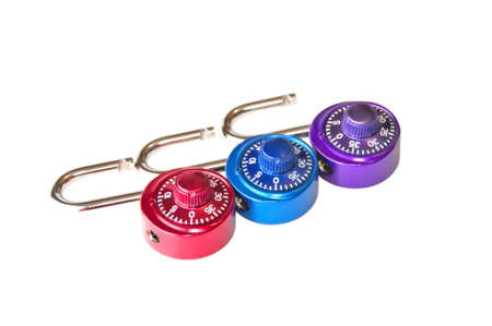 combination: Three opened isolated combination padlocks