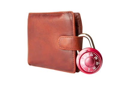 technology transaction: Isolated brown wallet and combination padlock