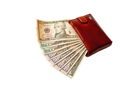 USA dollars in the brown wallet photo