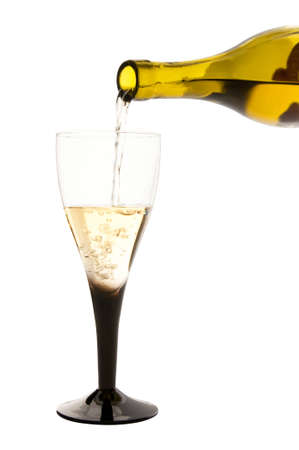 Isolated glass of white wine and the bottle Stock Photo